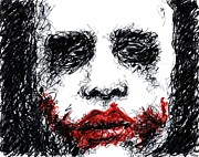 Christopher Drawings - Joker - Black by Rachel Scott