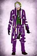 Typographic Prints - Joker - Heath Ledger Print by Ayse T Werner