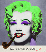Dracula Digital Art Metal Prints - Joker Marilyn with surreal pipe Metal Print by Filippo B