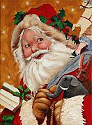 Seasonal Art Posters - Jolly Santa Poster by Enzie Shahmiri