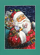Toys Framed Prints - Jolly Santa Framed Print by Lynn Bywaters