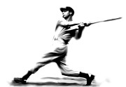 Hall Of Fame Drawings Metal Prints - Joltin Joe DiMaggio  Joe DiMaggio Metal Print by Iconic Images Art Gallery David Pucciarelli