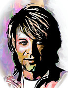 Watercolor Digital Art Originals - Jon Bon Jovi  by Andrzej  Szczerski