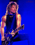 Music Metal Prints - Jon Bon Jovi Metal Print by John Travisano