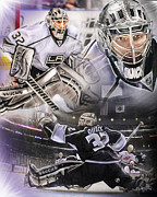 Goalie Digital Art Prints - Jonathan Quick Collage Print by Mike Oulton