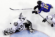 Puck Framed Prints - Jonathan Quick deflecting a shot Framed Print by Sanely Great