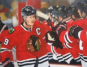 Hockey Painting Originals - Jonathan Toews by Absolon Moreau