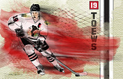 Hockey Drawings Originals - Jonathan Toews by Derek Crenshaw
