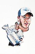 Hockey Pastels Framed Prints - Jonathan Toews - The Season Framed Print by Jerry Tibstra