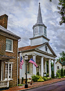 Flag Of Usa Prints - Jonesboro Methodist Church Print by Heather Applegate