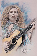 Featured Pastels Framed Prints - Joni Mitchell Framed Print by Melanie D