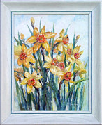 Yellow Daffodils Art Originals - Jonquils and Spring Sky by Nancy Heindl
