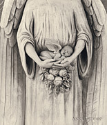 Black-and-white Posters - Jonti as an Angel Poster by Anne Geddes