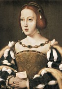 Royal Family Arts Framed Prints - Joos Van Cleve 1485-1541. Eleanor Framed Print by Everett