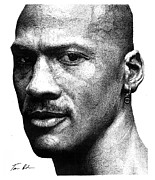 Michael Jordan Drawings - Jordan Dots by Tamir Barkan