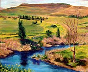River Jordan Painting Prints - Jordan river in Israel Print by Hannah Baruchi