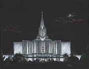 Hardy Drawings - Jordan River Utah LDS Temple by Pris Hardy