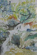 Jordan Art Paintings - Jordan River Waterfall by Esther Newman-Cohen