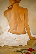 Red Drape Paintings - Jos Bath by Debi Pople