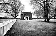 Red School House Framed Prints - Joseph Serfy House bw Framed Print by John Rizzuto