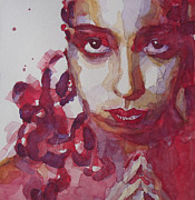 Face  Paintings - Josephine Baker by Paul Lovering