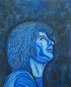 Water Color Prints - Josh Grobans Got The Blues Print by Margaret Newcomb