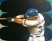 Texas Rangers Paintings - Josh Hamilton by David Grizzle