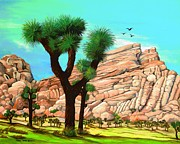 Famous Acrylic Landscape Paintings - Joshua Tree National Park CA by Carol Sabo