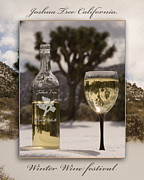 Pinot Grigio Posters - Joshua Tree Winter White Wine Festival California Artistic Illustration Poster by David Rigg
