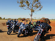 Harley Davidson Rally Prints - Journey to the Outback Print by Linda Lees