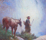 Western Western Art Prints - Journey to the Sacred Falls Print by Ernest Principato