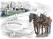 Percheron Drawings Posters - Journeys on the Canal - Canal Boat Print color tinted Poster by Kelli Swan