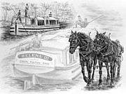 Percheron Drawings Posters - Journeys on the Canal - Canal Boat Print  Poster by Kelli Swan