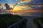 Joy Comes In The Morning Sunrise Carolina Beach Nc Print by Wayne Moran