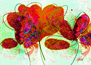 Red And Orange Prints - Joy flower abstract Print by Ann Powell
