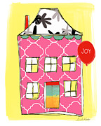 Red School House Mixed Media Prints - Joy House Card Print by Linda Woods