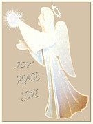 Gold Angel Card Posters - Joy Peace Love Card Poster by Debra     Vatalaro