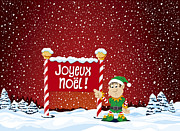 Snowing Posters - Joyeux Noel Sign Christmas Elf Winter Landscape Poster by Frank Ramspott