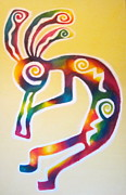 The Sun God Painting Posters - Joyful Kokopelli Poster by Sister Rebecca Shinas