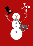 Christmas Card Mixed Media Metal Prints - Joyful Snowman Metal Print by Valerie  Drake Lesiak