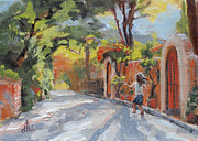 Nature Scene Drawings Prints - Joyful Street Scene Print by Diane Bay