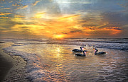 Early Digital Art Prints - Joyful Sunrise Print by East Coast Barrier Islands Betsy A Cutler