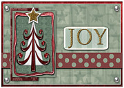 Christmas Card Digital Art Metal Prints - Joyful Tree Card Metal Print by Arline Wagner