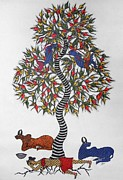 Gond Art Paintings - Js 108 by Japani Shyam