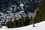 Alps Prints - JSCHALP LANDSCAPE davos town and snowboarder Print by Andy Smy