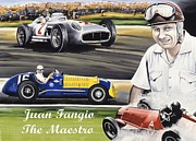Greatest Of All Time Posters - Juan Fangio Poster by Kevin Waite