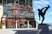 Baseball Stadiums Framed Prints - Juan Marichal at San Francisco ATT Park . 7D7639 Framed Print by Wingsdomain Art and Photography