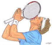 French Open Drawings Prints - Juan Martin del Potro Print by Steven White