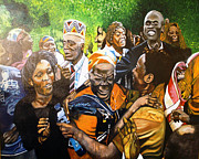 Excellence Painting Prints - Jubilation series- Pres Obamas Grandmothers village Print by Michael Mahue Moore