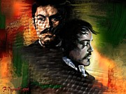 Movie Art Paintings - Jude and Robert by Francoise Dugourd-Caput